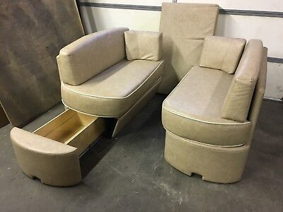 REM Tan face-to-face Booth Dinette seats Leather (Tan) Boat or RV Motorhome