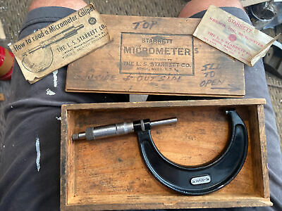 Starrett 436 2-3outside Micrometer .with Box Wrench In Plastic Still G1t
