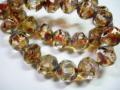 15 8mm Crystal Picasso Firepolished Thru Cuts Czech Glass Beads 15 Crystal Cut Glass