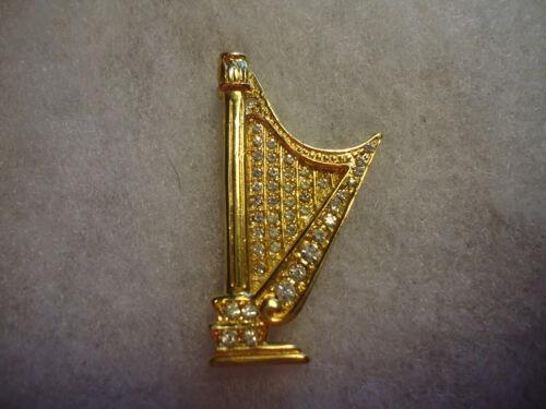 Vintage/nos gold tone rhinestone music Harp pin