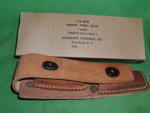 WWII US ARMY SIGNAL CORPS CS-34 LEATHER LINEMANS POUCH ONLY, NEW, NEVER USED!