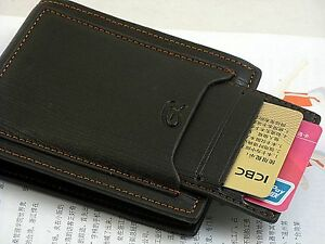 New Black Mens cow leather bifold wallet credit/ID card holder slim purse
