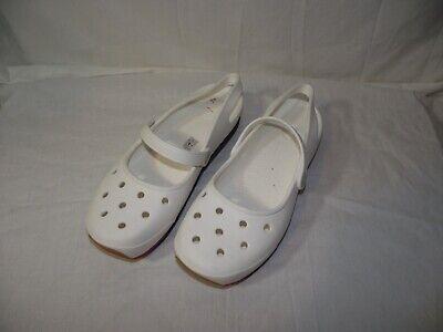 Crocs Womens 11 White Sling-Back Mary Jane Slip On Shoes w/ Platform Base EUC ()