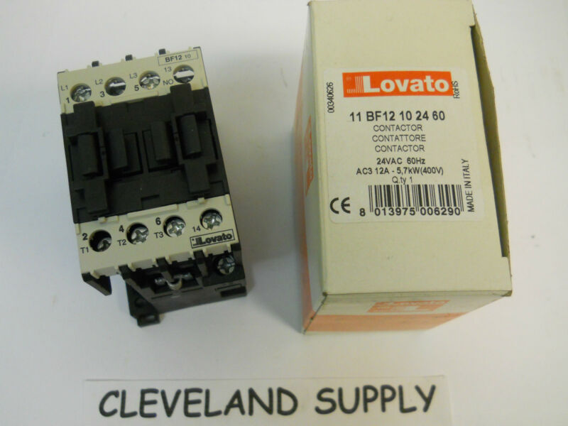 LOVATO ELECTRIC PART# 11BF12102460 24V CONTACTOR NEW CONDITION IN BOX