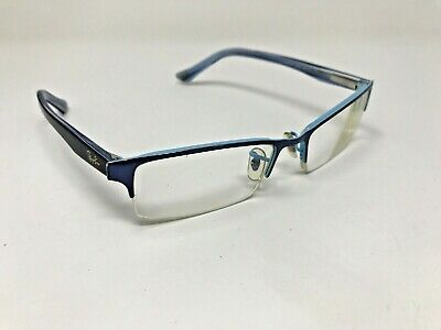 Ray Ban RB6196 2653 52-17-145 Navy/Baby Blue Half Rimless Eyeglasses (Baby Blue Ray Bans)