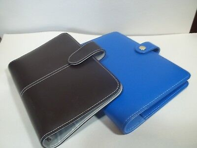 Two Compact Planners Blue Brown Faux Leather Binder Organizer Rings-1 Size