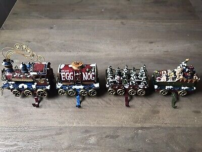 Christmas express Stocking Holder Set Train Engine Egg Nog Tree Cart Toy Sleigh