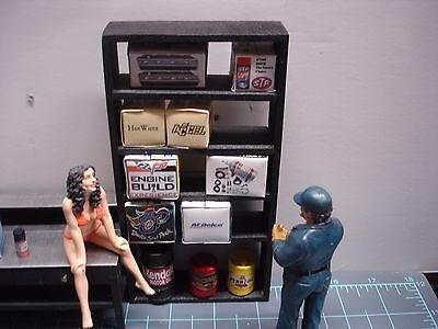 1/18 scale- Shelving Unit #2-Complete w/boxes, barrel-4 your shop/garage/diorama