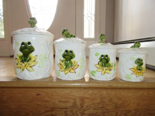 CL/NEIL THE FROG CERAMIC CANNISTER SET/SEARS & ROEBUCK/MADE IN JAPAN!