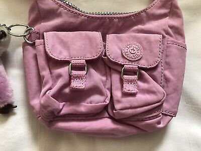 KIPLING Pink Bag Small Cross Body/Messenger with Hadia Monkey & Baby - VGC!!