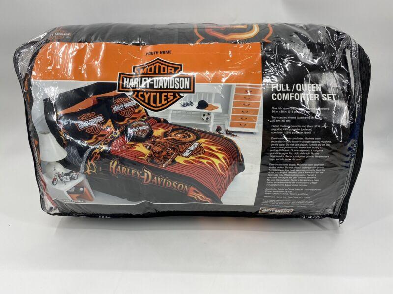 "Harley Davidson Comforter Reversible 86""x86"" Full Queen Brilliant Colors 2 Shams"
