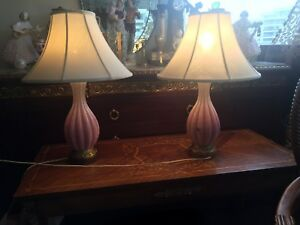 Italian pink murano glass opaline lamp pair