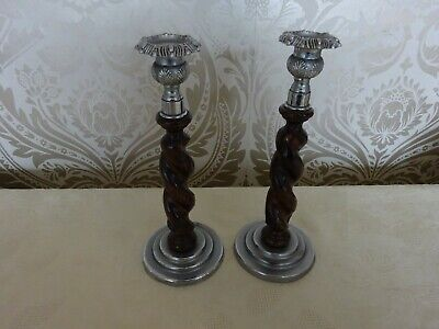 Vintage retro Pair of Metal & Twisted Wooden jacobean Styled Candlesticks 26cm