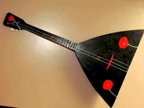Handmade Black Balalaika 3 strings named after P. Postyshev For Decor 6N
