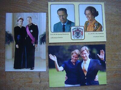 Dynastie Belgique - Lot de 3 cartes Roi Baudouin Albert Philippe Reine Fabiola..
