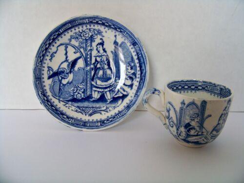 Wonderful Antique Nankin Childs Childrens Blue Transferware Scenic Saucer Cup