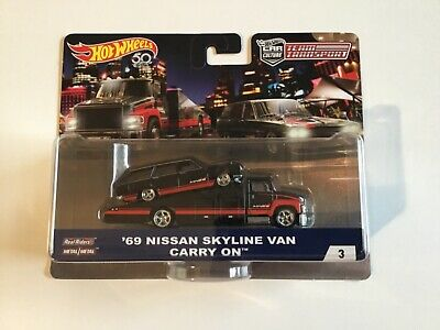 Hot Wheels Car Culture Team Transport '69 Nissan Skyline Van with real riders