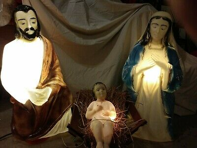 "Vintage Blow Mold Christmas Nativity Set-Mary 32"" Joseph 32"" Jesus 16"""