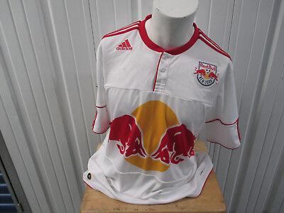 VINTAGE ADIDAS MLS NEW YORK RED BULLS WHITE XL SEWN JERSEY 2011 KIT PREOWNED image