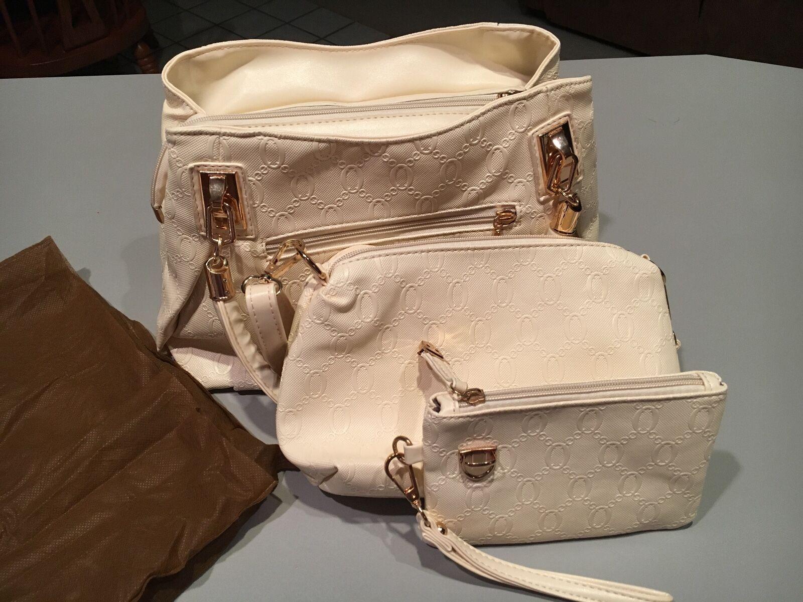 Womans three piece handbag set/ cream with gold accents