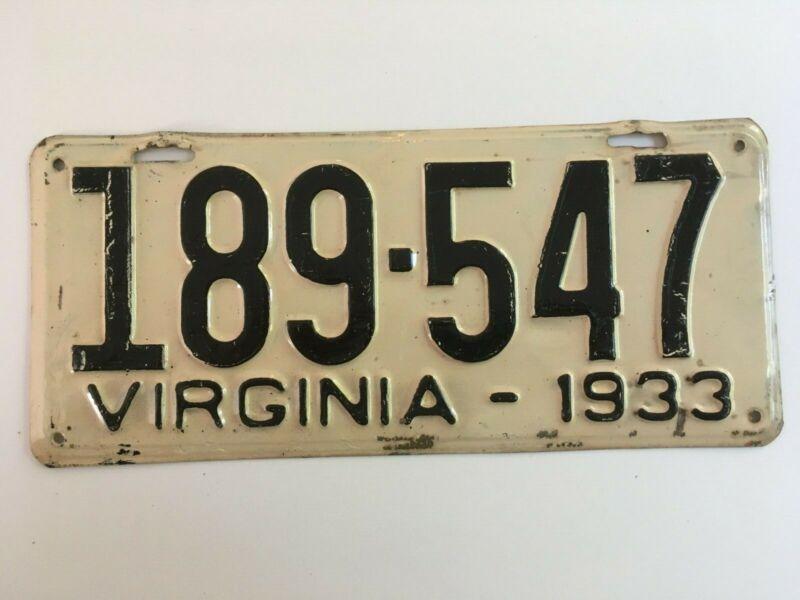 1933 Virginia License Plate 100% All Original