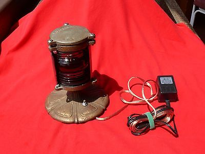 Antique BRASS BOAT LAMP Blue + Red Lens Lamp Conversion with 12 Volt Transformer