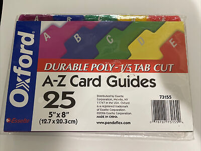 A-z File Card Guides Oxford Esselte 73155 File Tab Free Shipping