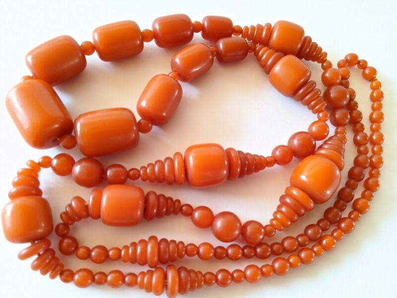 """Antique Art Deco Orange Butterscotch Color Hard Plastic Bead Necklace 42"""" Length"""
