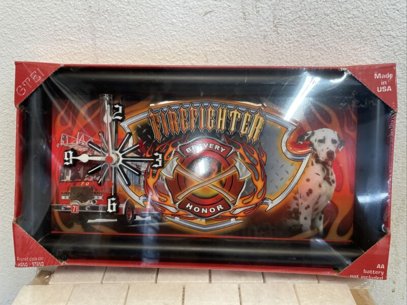 """13"""" x 7"""" Firefighter Bravery Honor Quartz Clock hang or stand Brand New & Sealed"""