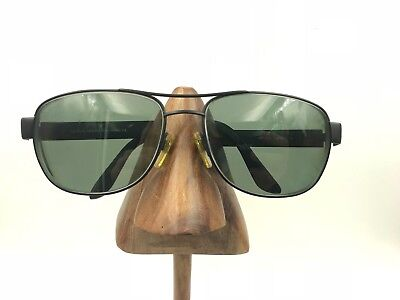 da5fd63603e Vintage Giorgio Armani 667 706 Large Black Metal Aviator Sunglasses Frames  Italy