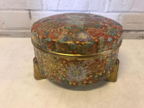 Antique Japanese Satsuma Signed Porcelain Covered Box Jar Millefiori Floral Dec.