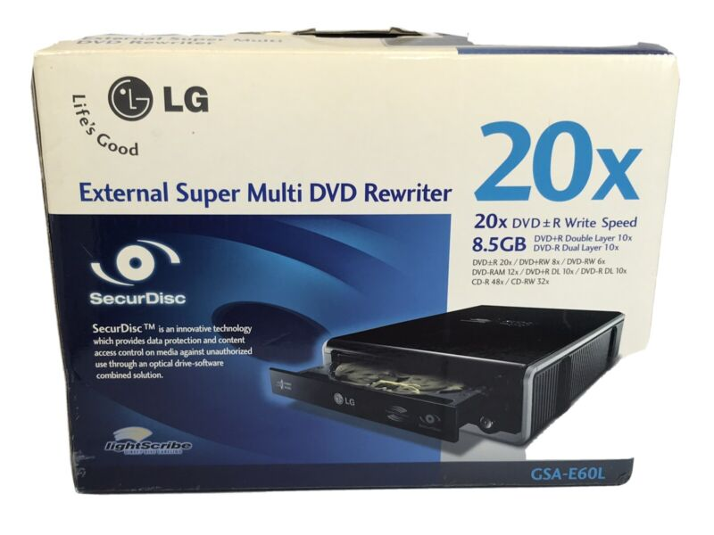 LG External Super Multi DVD Rewriter 20x GSA-E60L DVD+R DVD+RW DVD-RW CD-RW #20x