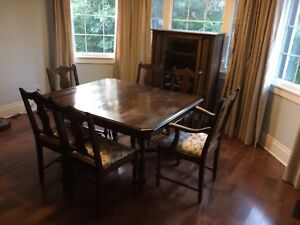 Wood Dining Set - 6 chairs, Table, Hutch