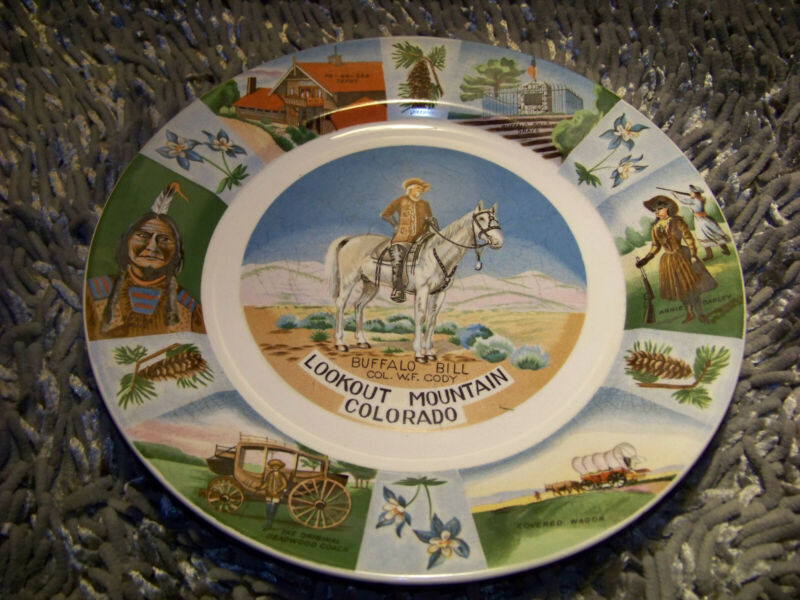 Vintage Buffalo Bill Lookout Mountain Colorado State Collectible Plate