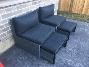 MOVING- Two Outdoor Chairs & Ottomans- Can Del
