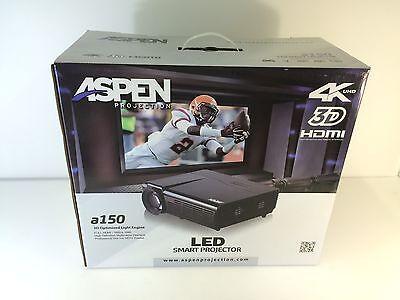 * Aspen Projection A150 LED Smart Projector 4K UHD 3D HDMI