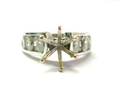 Marquise & Round Channel Set Semi Mount Ring 18Kt White Gold .76Ct 9mm Round Channel Set Semi Mount Ring