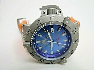 Invicta Men's Subaqua Noma III 1591 Watch GMT Swiss Made Orange Blue