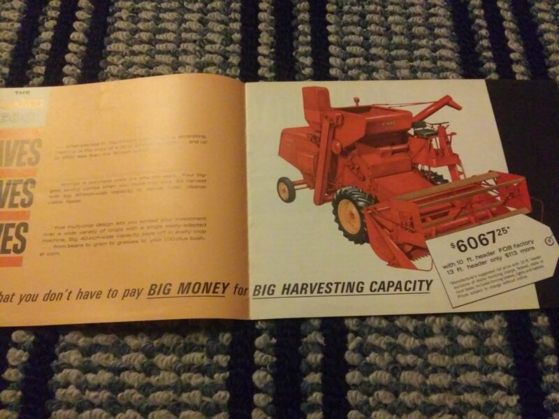 CASE Combine Literature.  Case 600 combine saves and IH combines fold out mailer
