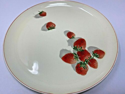 "VTG Strawberry Shortcake 10"" Dinner Plate Cavitt-Shaw W. S. George Red Ring"
