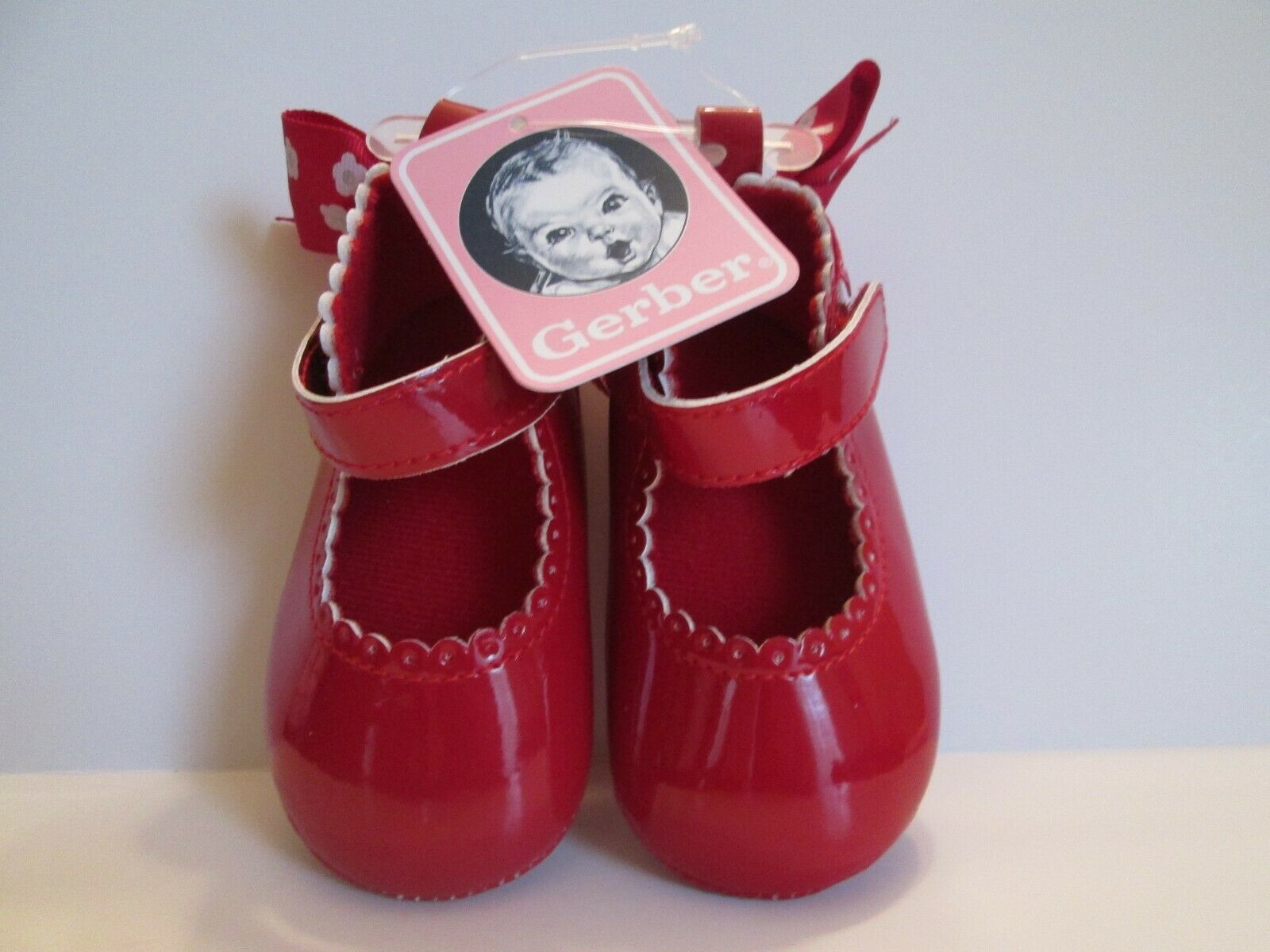 Gerber Baby Girl Red w Bow Pattan Leather Look Soft Sole Sho