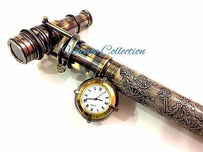 Beautiful Wood Leather Walking Sticks/Canes Brass Hidden Telescope Clock on Top
