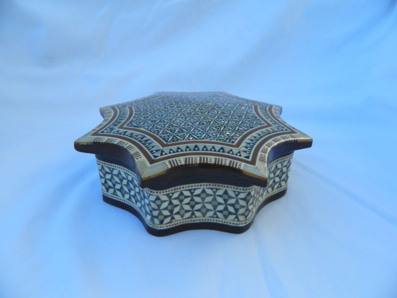 """Egyptian Inlaid Wood Mother of Pearl Umbrella Shaped Jewelry Box 6.75"""" # 3"""
