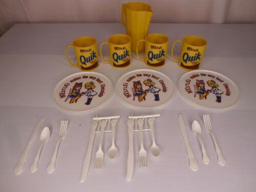 Vntg Partial Nestle Quik Worcester Toy Chocolate Set - 4 Cups, 3 Plates, Pitcher