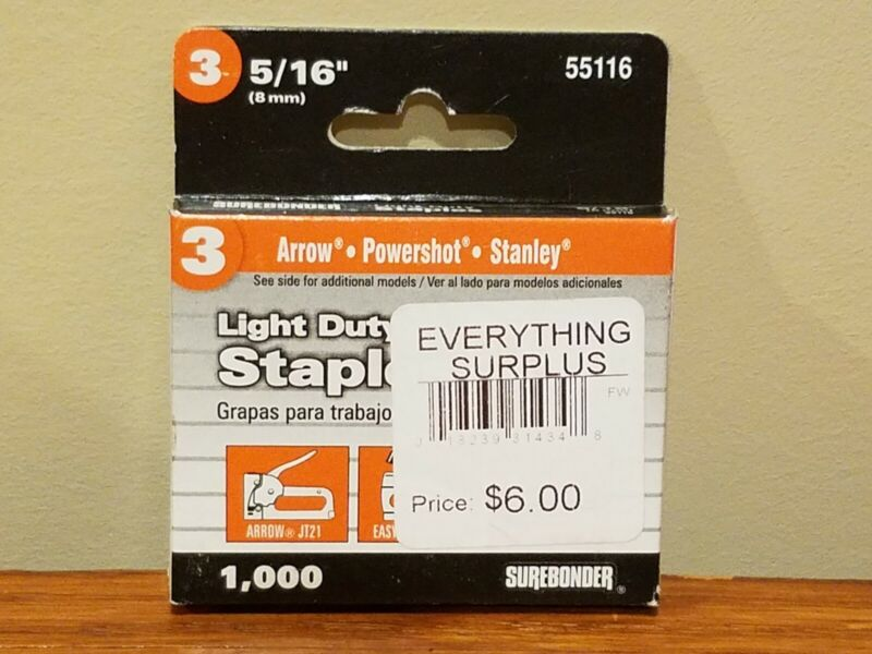"Surebonder Light Duty Staples #3 5/16"" 8mm x1000 Arrow Ace Craftsman Powershot +"