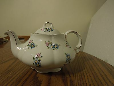 Ellgreave England Teapot pink, blue & yellow floral with gold trim Wood & Sons
