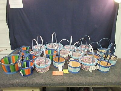 25 BLUE EASTER JUBILEE WOODEN WOVEN BASKETS BUNNY CRAFT DECORATION RABBIT ROUND - Wooden Easter Baskets