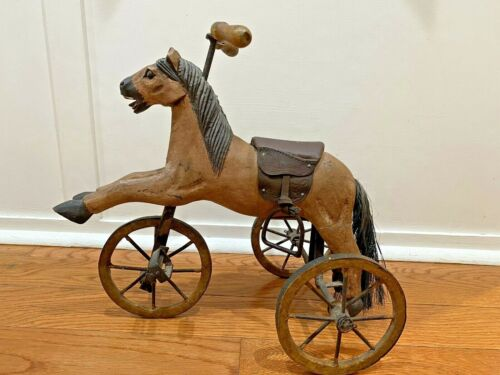 CARVED WOOD Leather Saddle VTG HORSE TRICYCLE BIKE FOLK ART HOME DECOR TOY Doll