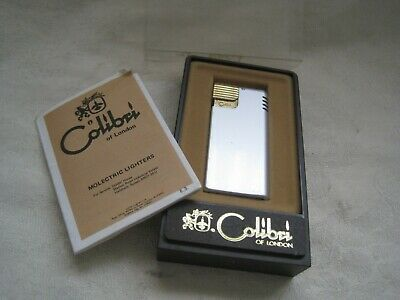 Working VINTAGE Pocket LIGHTER by COLIBRI Metal in ORIGINAL Box Tobacciana