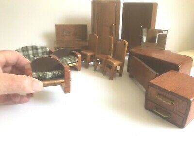 VINTAGE DOLLS HOUSE FURNITURE MIXED LOT 1930's 12 hand made items in wood